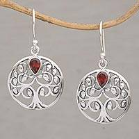 Garnet dangle earrings, 'Banyan Beauty' - Balinese Garnet and Sterling Silver Tree Dangle Earrings