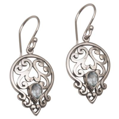 Balinese Blue Topaz and Sterling Silver Dangle Earrings