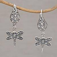 Sterling silver dangle earrings, 'Dragonfly Delight' - Handmade Balinese Sterling Silver Dragonfly Dangle Earrings