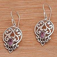 Amethyst dangle earrings, 'Lilac Majesty' - Balinese Amethyst and Sterling Silver Dangle Earrings