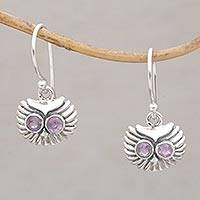 Amethyst dangle earrings, 'Opulent Owl' - Amethyst and Sterling Silver Owl Dangle Earrings from Bali