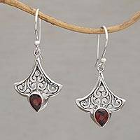 Garnet dangle earrings, 'Crimson Crown' - Balinese Garnet and Sterling Silver Dangle Earrings