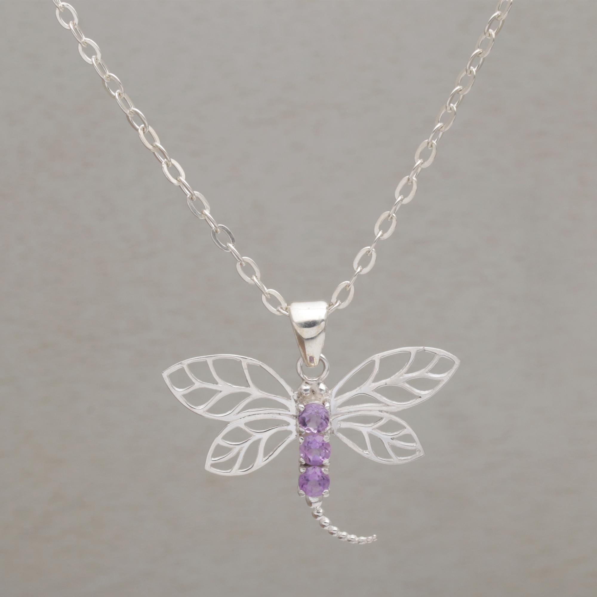 5e742b998 UNICEF Market   925 Sterling Silver Amethyst Dragonfly Pendant ...