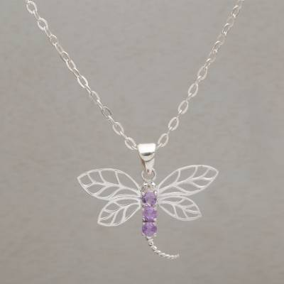 Amethyst pendant necklace, 'Amethyst Wings' - 925 Sterling Silver Amethyst Dragonfly Pendant Necklace