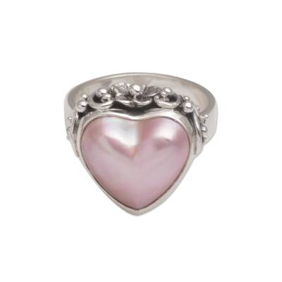 Cultured pearl cocktail ring, 'Stranger in Love' - Handmade 925 Sterling Silver Cultured Pearl Cocktail Ring