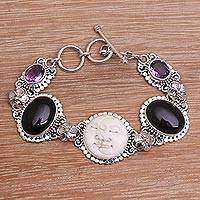 Onyx and amethyst link bracelet, 'Midnight Duo'