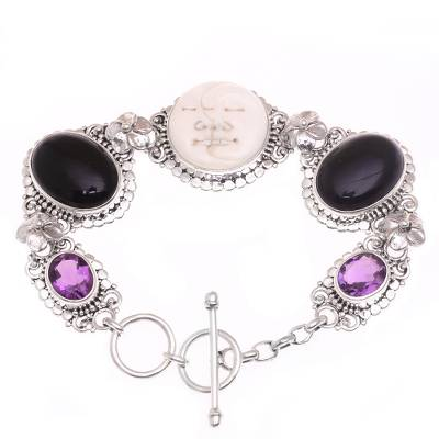 Onyx and amethyst link bracelet, 'Midnight Duo' - Handcrafted Sterling Silver Onyx Amethyst Bone Bracelet