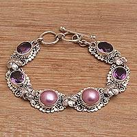 Cultured pearl and amethyst link bracelet, 'The Beginning' - Handmade 925 Sterling Silver Amethyst Beaded Bracelet