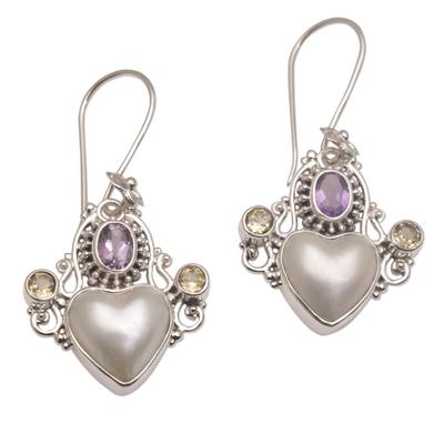 Multi-gemstone dangle earrings, 'Flying Hearts' - Cultured Pearl, Amethyst and Citrine Heart Dangle Earrings