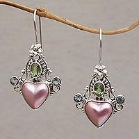 Multi-gemstone dangle earrings, 'Flying Hearts' - Cultured Pearl Blue Topaz and Peridot Heart Dangle Earrings
