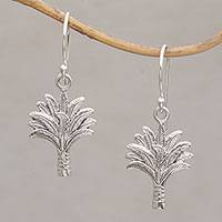 Sterling silver dangle earrings, 'Tranquil Palms' - Detailed Palm Tree Earrings Crafted in Sterling Silver