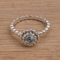 Blue topaz single-stone ring, 'Pretty Posy' - Sterling Silver and Blue Topaz Flower Ring from Bali