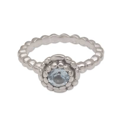 Sterling Silver and Blue Topaz Flower Ring from Bali