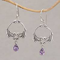 Amethyst dangle earrings, 'Bali Garland' - Garland Shaped Sterling Silver Earrings with Amethysts