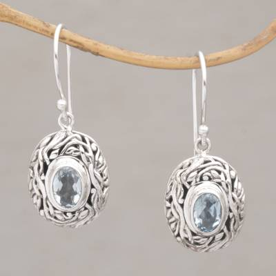 Blue Topaz Dangle Earrings Real Gift Oval Shaped Sterling Silver With