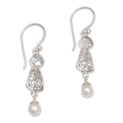 Hook Earrings with Blue Topaz and Cultured Pearl