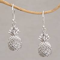 Sterling silver dangle earrings, 'Luscious Pineapple' - Tropical Pineapple Sterling Silver Dangle Earrings