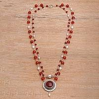 Cultured pearl and carnelian pendant necklace, 'My Trust'
