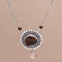 Cultured pearl and tiger's eye pendant necklace, 'This Moment' - Cultured Freshwater Pearl and Tigers Eye Pendant Necklace