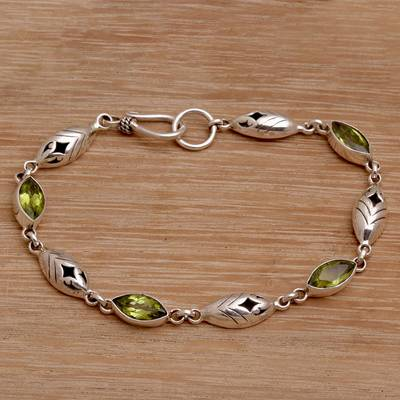 Peridot link bracelet, 'Opulent Nature' - Balinese Peridot and Sterling Silver Link Bracelet