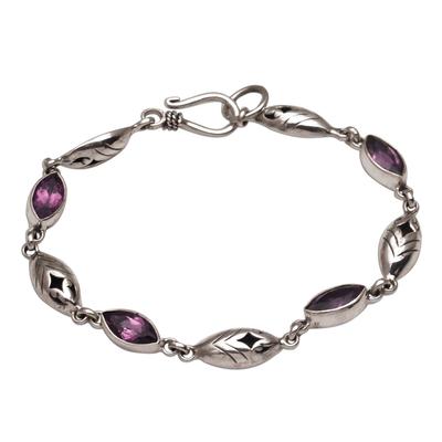 Amethyst link bracelet, 'Opulent Nature' - Balinese Amethyst and Sterling Silver Link Bracelet