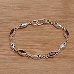 Balinese Garnet and Sterling Silver Link Bracelet, 'Opulent Nature'