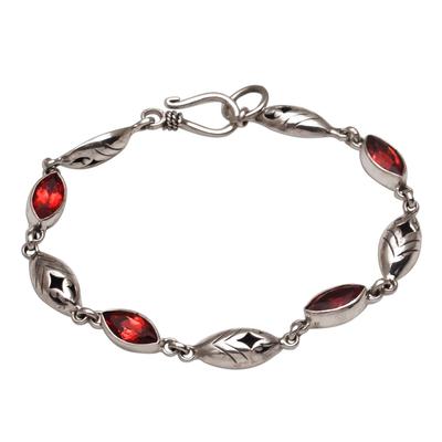 Garnet link bracelet, 'Opulent Nature' - Balinese Garnet and Sterling Silver Link Bracelet