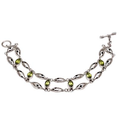 Peridot link bracelet, 'Indah Enam' - Balinese Peridot and Sterling Silver Link Bracelet