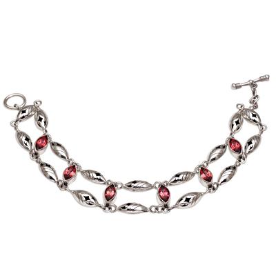 Garnet link bracelet, 'Indah Enam' - Balinese Garnet and Sterling Silver Link Bracelet