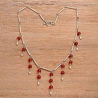 Cultured pearl and carnelian waterfall necklace, 'Bali Allure' - Cultured Freshwater Pearl and Carnelian Waterfall Necklace