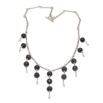 Cultured Freshwater Pearl and Black Onyx Waterfall Necklace
