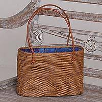 Ate grass handle handbag, 'Ocean Petals' - Handmade Ate Grass Lombok Handle Handbag from Bali