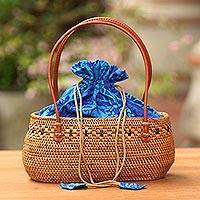 Ate grass handle handbag, 'Oceanic Flora' - Handcrafted Ate Grass Floral Lombok Handle Handbag from Bali