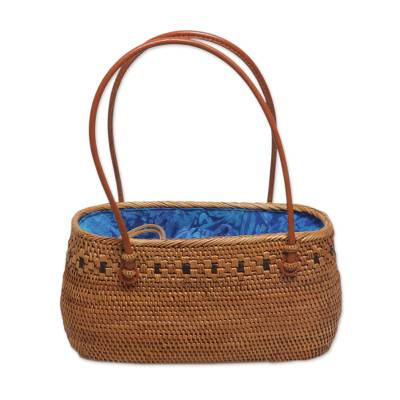 Handcrafted Ate Grass Floral Lombok Handle Handbag from Bali