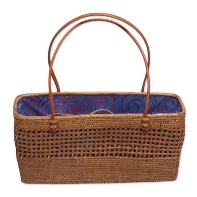 Artisan Crafted Ate Grass Lombok Handle Handbag from Bali