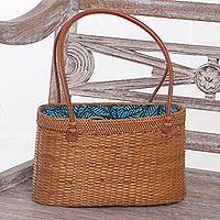 Ate grass handle handbag, 'Forest Grove' - Handcrafted Ate Grass Leaf Motif Handle Handbag from Bali