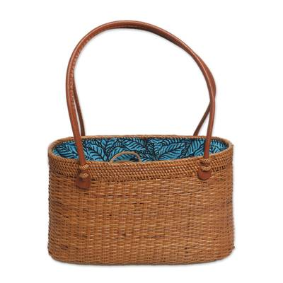 Handcrafted Ate Grass Leaf Motif Handle Handbag from Bali