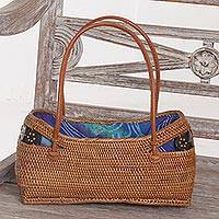 Ate grass handle handbag, 'Aurora Temple' - Handmade Balinese Natural Ate Grass Lombok Handle Handbag