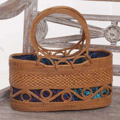 Ate grass handle handbag, 'Aurora Dreams' - Handmade Ate Grass Lombok Handle Handbag from Bali