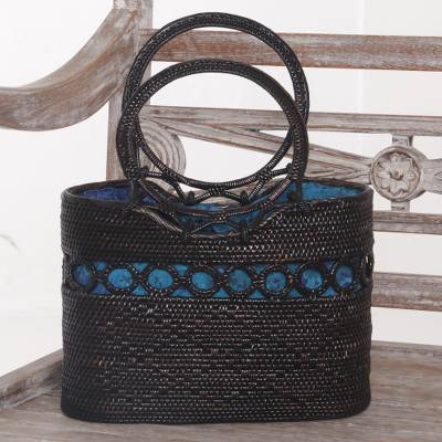 Ate grass handle handbag, 'Midnight Grove' - Handcrafted Balinese Ate Grass Lombok Handle Handbag