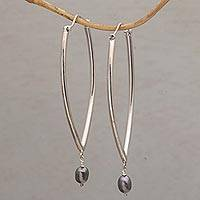 Cultured pearl hoop earrings, 'Oval Opulence' - Cultured Freshwater Pearl and Sterling Silver Hoop Earrings