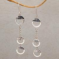 Sterling silver dangle earrings, 'Downtown' - Handmade Sterling Silver Dangle Earrings from Bali