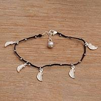 Sterling silver charm bracelet, 'Leaves in the Night' - Sterling Silver Charm Bracelet with a Cultured Pearl
