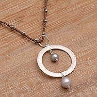 Cultured pearl pendant necklace, 'New Dreams in Brown'