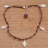 Amethyst beaded anklet, 'Walk On in Brown' - Artisan Handmade Amethyst 925 Sterling Silver Anklet