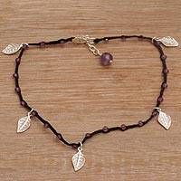 Amethyst beaded anklet, 'Walk On in Black' - Handmade Artisan Amethyst 925 Sterling Silver Anklet