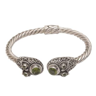 Peridot cuff bracelet, 'Wandering Eyes' - Handmade Peridot 925 Sterling Silver Cuff Bracelet