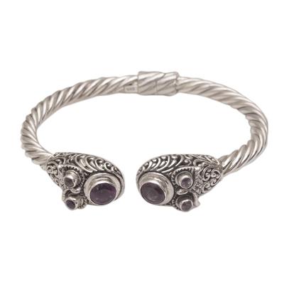 Amethyst cuff bracelet, 'Wandering Eyes' - Handmade Amethyst 925 Sterling Silver Cuff Bracelet