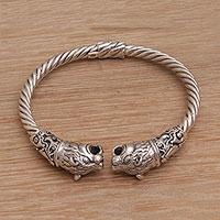 Sterling silver cuff bracelet, 'Tiger Storm' - Artisan Handmade 925 Sterling Silver Tiger Cuff Bracelet