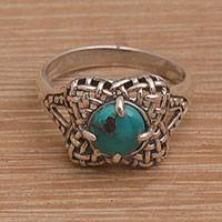 Turquoise cocktail ring, 'Woven Petals' - Handmade 925 Sterling Silver Natural Turquoise Cocktail Ring